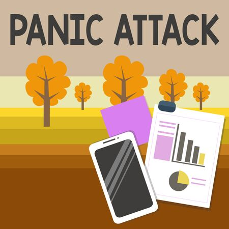 Writing note showing Panic Attack. Business concept for sudden periods of intense fear that may include palpitations Layout Smartphone Sticky Notes with Pie Chart and Bar Graph Banque d'images - 132004322