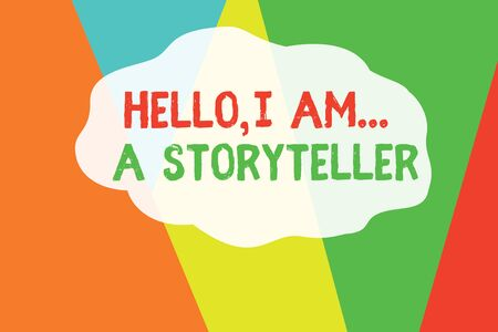 Conceptual hand writing showing Hello I Am A Storyteller. Concept meaning introducing yourself as novels article writer Geometric Background Triangles for Business Presentations Web