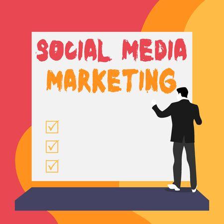 Main conceptuel écrit, indiquant le marketing des médias sociaux. Sens Concept utilisation du site Web et du réseau pour promouvoir le service produit Vue arrière jeune femme regardant grand rectangle vierge