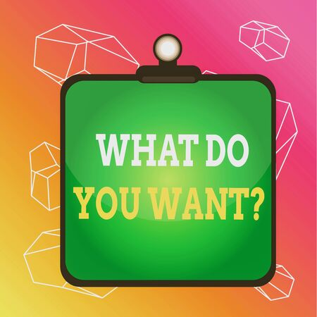 Word writing text What Do You Want Question. Business photo showcasing Tell me your desires requests deanalysisds ambition Clipboard colorful background spring clip stuck bind empty plank frame Фото со стока