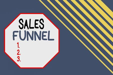 Word writing text Sales Funnel. Business photo showcasing process through which a company ells its products to buyers Seamless rectangle background pattern diagonal stripes upper right side