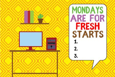 Writing note showing Mondays Are For Fresh Starts. Business concept for Begin again every week have a good morning Desktop computer with wooden table shelf books flower pot