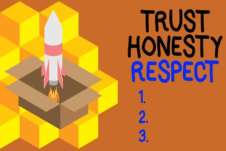 Handwriting text writing Trust Honesty Respect. Conceptual photo Respectable Traits a Facet of Good Moral Character Fire launching rocket carton box. Starting up project. Fuel inspiration