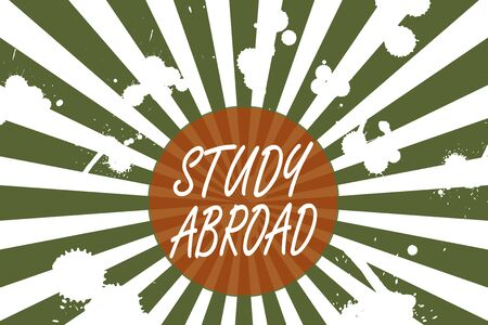 Conceptual hand writing showing Study Abroad. Concept meaning live in a foreign country and attend a foreign university Abstract geometric deep design Simulating depth and stains