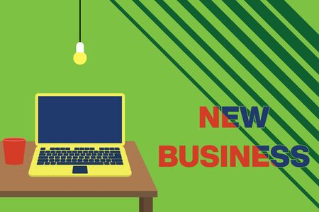 Text sign showing New Business. Business photo showcasing the activity of buying and selling goods and services Front view open laptop lying on wooden desktop light bulb falling glass