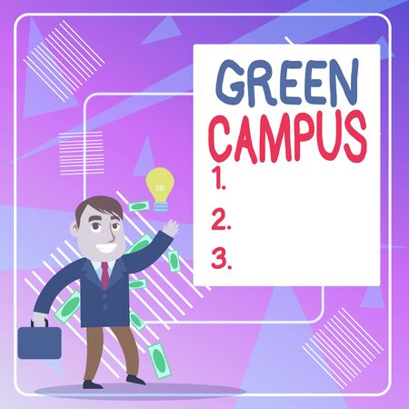 Word writing text Green Campus. Business photo showcasing sustainable and environmentally friendly educational facility Successful Businessman or Clerk Generating Good Idea or Finding Solution Imagens