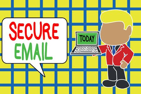 Text sign showing Secure Email. Business photo text protect the email content from being read by unwanted entities Standing professional businessman holding open laptop right hand side Stock Photo