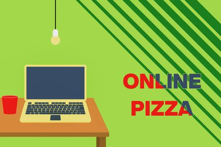 Text sign showing Online Pizza. Business photo showcasing fast delivery of pizza at your doorstep Ordering food online Front view open laptop lying on wooden desktop light bulb falling glass