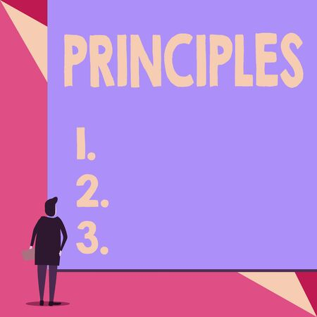 Handwriting text Principles. Conceptual photo fundamental truth that serves as the base for a system of belief Back view young woman watching blank big rectangle. Geometrical background