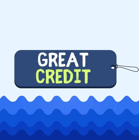 Conceptual hand writing showing Great Credit. Concept meaning borrower has high credit score and is a safe credit risk Label tag badge rectangle shaped string colorful background