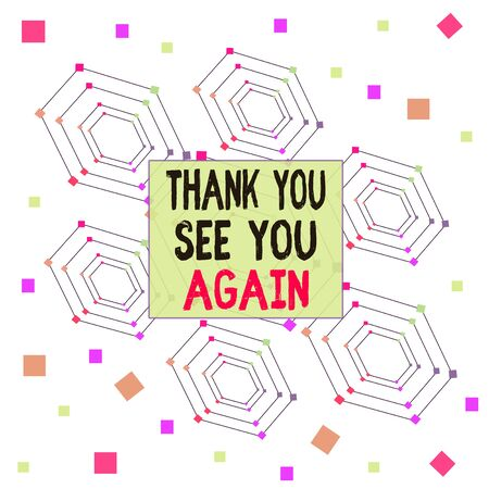 Text sign showing Thank You See You Again. Business photo showcasing Appreciation Gratitude Thanks I will be back soon Centered Hexagon Concentric Pattern Randomly Scattered Colored Squares Stock fotó