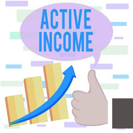 La scrittura della nota mostra il reddito attivo. Il concetto di business per i diritti d'autore stipendi pensioni investimenti finanziari suggerimenti pollice in alto buone prestazioni successo crescente grafico a barre freccia ascendente
