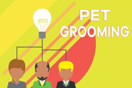 Handwriting text writing Pet Grooming. Conceptual photo hygienic care and enhancing the appearance of the pets Group three executive persons sharing idea icon. Startup team meeting