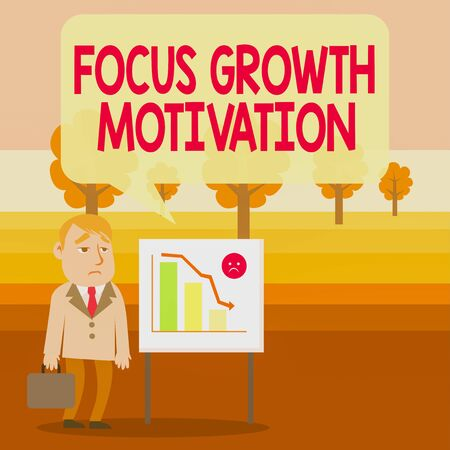 Conceptual hand writing showing Focus Growth Motivation. Concept meaning doing something with accuracy increase productivity Businessman with Brief Case Standing Whiteboard Bar Chart