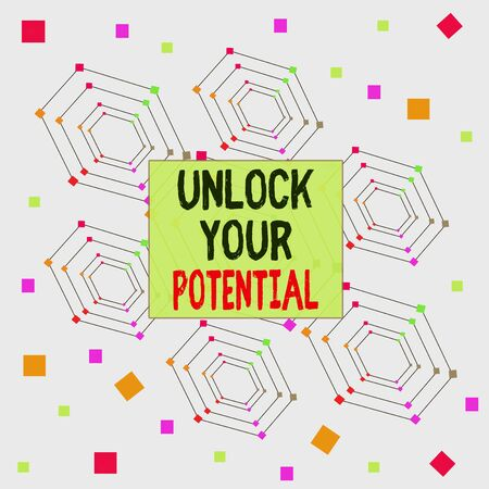 Text sign showing Unlock Your Potential. Business photo showcasing improve self awareness Skills to Achieve more Centered Hexagon Concentric Pattern Randomly Scattered Colored Squares