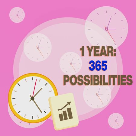 Writing note showing 1 Year 365 Possibilities. Business concept for Beginning of a New Day Lots of Chances to Start Layout Wall Clock Notepad with Escalating Bar Graph Arrow Stock fotó