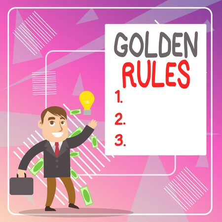 Word writing text Golden Rules. Business photo showcasing basic principle that should always follow to ensure success Successful Businessman or Clerk Generating Good Idea or Finding Solution