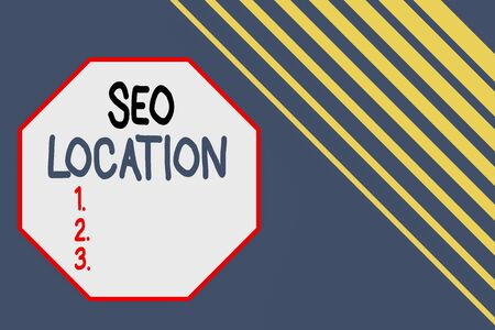 Word writing text Seo Location. Business photo showcasing process to optimize pages on your site to show for organic Seamless rectangle background pattern diagonal stripes upper right side
