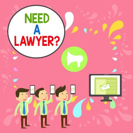 Word writing text Need A Lawyer Question. Business photo showcasing Legal problem Looking for help from an attorney SMS Email Marketing Media Audience Attraction Personal Computer Loudspeaker 스톡 콘텐츠 - 131347509