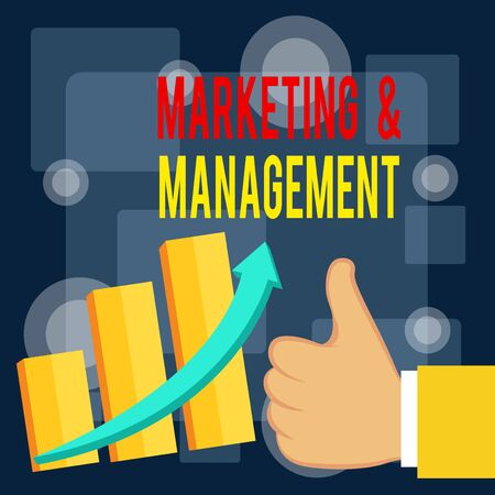 Writing note showing Marketing And Management. Business concept for process of developing strategies for product Thumb Up Good Performance Success Escalating Bar Graph Ascending Arrow Banco de Imagens - 131331911