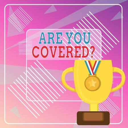 Word writing text Are You Covered Question. Business photo showcasing asking someone or patient if he have insurance Trophy Cup on Pedestal with Plaque Decorated by Medal with Striped Ribbon Stockfoto