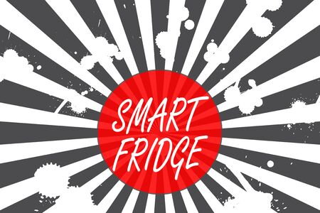 Conceptual hand writing showing Smart Fridge. Concept meaning programmed to sense what kinds of products being stored inside Abstract geometric deep design Simulating depth and stains Zdjęcie Seryjne