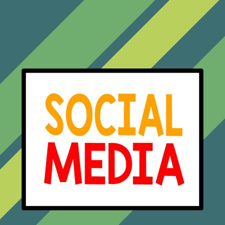Text sign showing Social Media. Business photo text collective of online communications channels or networking Front close up view big blank rectangle abstract geometrical background