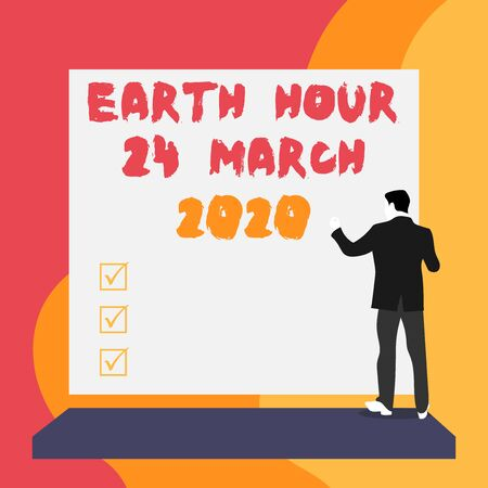 Conceptual hand writing showing Earth Hour 24 March 2020. Concept meaning Celebrate Sustainability Save the Planet Lights Off Back view young woman watching blank big rectangle