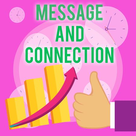 Writing note showing Message And Connection. Business concept for a word or letter sent to someone and it was received Thumb Up Good Performance Success Escalating Bar Graph Ascending Arrow Stock fotó