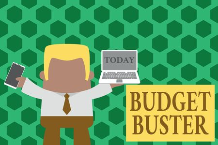 Word writing text Budget Buster. Business photo showcasing Carefree Spending Bargains Unnecessary Purchases Overspending Standing professional man tie holding left open laptop right mobile phone