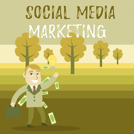 Conceptual hand writing showing Social Media Marketing. Concept meaning use of Website and Network to promote Product Service Successful Businessman Generating Idea or Finding Solution