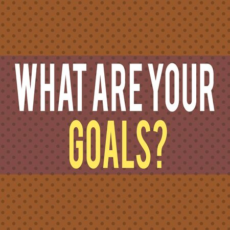 Word writing text What Are Your Goals Question. Business photo showcasing ask the Desired End Results to know the plans Seamless Endless Infinite Polka Dot Pattern against Solid Red Background
