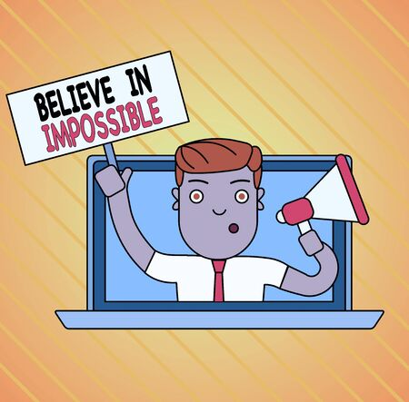 Conceptual hand writing showing Believe In Impossible. Concept meaning You can do it everything is possible Work hard Man Speaking Through Laptop into Megaphone Plate with Handle 스톡 콘텐츠