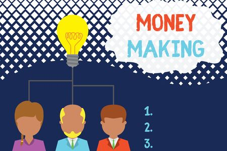 Conceptual hand writing showing Money Making. Concept meaning producing a profit especially with little effort Profitable Three executive persons sharing idea Startup team meeting 스톡 콘텐츠