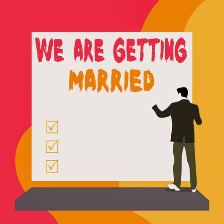 Conceptual hand writing showing We Are Getting Married. Concept meaning Engagement Wedding preparation Loving couple Back view young woman watching blank big rectangle