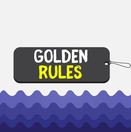 Conceptual hand writing showing Golden Rules. Concept meaning basic principle that should always follow to ensure success Label tag badge rectangle shaped string colorful background Standard-Bild