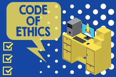 Writing note showing Code Of Ethics. Business concept for basic guide for professional conduct and imposes duties Desktop station drawers personal computer launching rocket Banco de Imagens