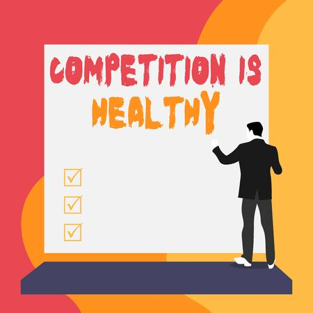 Conceptual hand writing showing Competition Is Healthy. Concept meaning Rivalry is good in any Venture leads to Improvement Back view young woman watching blank big rectangle
