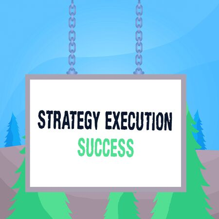 Word writing text Strategy Execution Success. Business photo showcasing putting plan or list and start doing it well Whiteboard rectangle frame empty space attached surface chain blank panel 스톡 콘텐츠