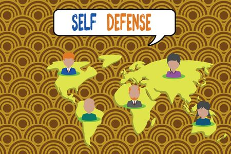 Conceptual hand writing showing Self Defense. Concept meaning the act of defending one s is demonstrating when physically attacked Connection multiethnic persons all Global business earth map 스톡 콘텐츠