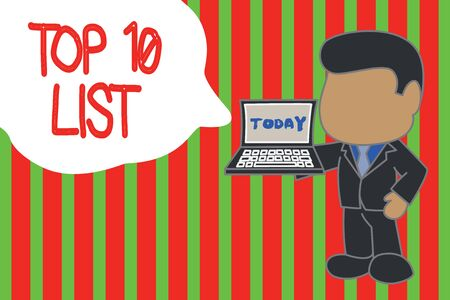 Writing note showing Top 10 List. Business concept for the ten most important or successful items in a particular list Standing professional businessman holding open laptop right hand side Banco de Imagens