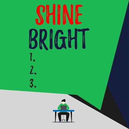 Handwriting text Shine Bright. Conceptual photo make an effort to live normally when in a difficult situation View young man sitting chair desk working open laptop geometric background 写真素材