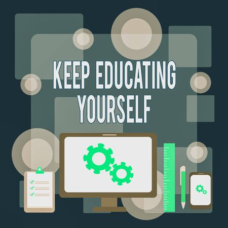 Writing note showing Keep Educating Yourself. Business concept for dont stop studying Improve yourself using Courses Business Concept PC Monitor Mobile Device Clipboard Ruler Ballpoint Pen Stock Photo