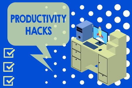 Writing note showing Productivity Hacks. Business concept for tricks that you get more done in the same amount of time Desktop station drawers personal computer launching rocket