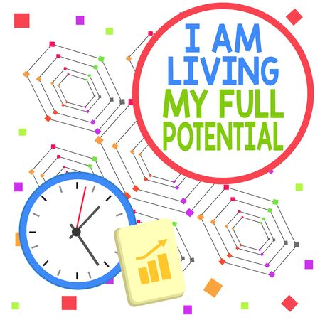 Handwriting text I Am Living My Full Potential. Conceptual photo Embracing opportunities using skills abilities Layout Wall Clock Notepad with Escalating Bar Graph and Arrow Pointing Up
