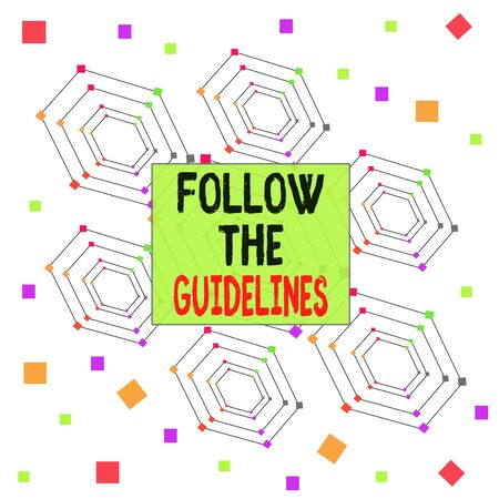 Text sign showing Follow The Guidelines. Business photo showcasing Manual of Style Follow a Specified Rule Accordingly Centered Hexagon Concentric Pattern Randomly Scattered Colored Squares Stok Fotoğraf