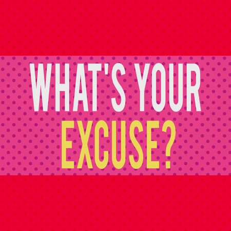 Word writing text What S Your Excuse Question. Business photo showcasing Explanations for not doing something Inquiry Seamless Endless Infinite Polka Dot Pattern against Solid Red Background Stock fotó