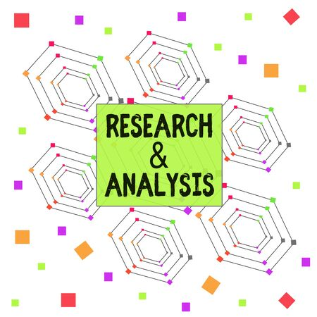 Text sign showing Research And Analysis. Business photo showcasing Strategic Thinking and Decision Making existing or new Centered Hexagon Concentric Pattern Randomly Scattered Colored Squares Reklamní fotografie