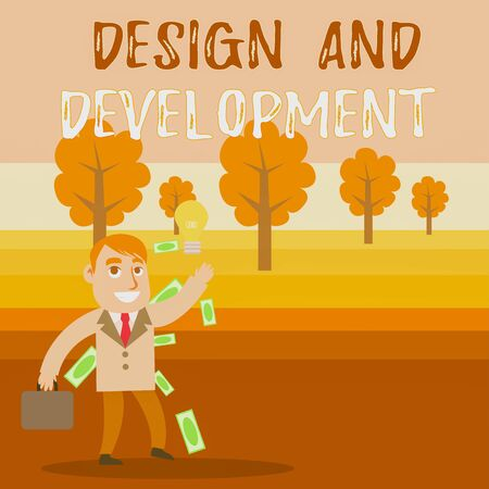 Conceptual hand writing showing Design And Development. Concept meaning Defining the Specification of Products and Services Successful Businessman Generating Idea or Finding Solution Stok Fotoğraf