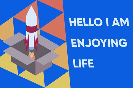 Text sign showing Hello I Am Enjoying Life. Business photo text Happy relaxed lifestyle Enjoy simple things Fire launching rocket carton box. Starting up project. Fuel inspiration 版權商用圖片